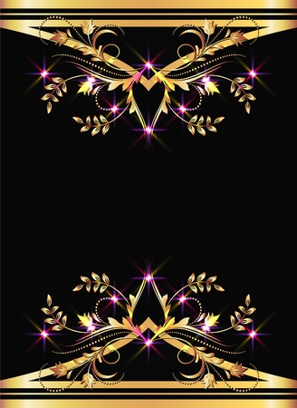 Background with golden ornament and sparkling lights Stock Vector - 9810217