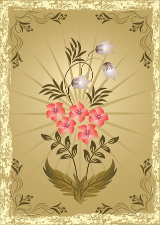 Card in retro style with meadow flower