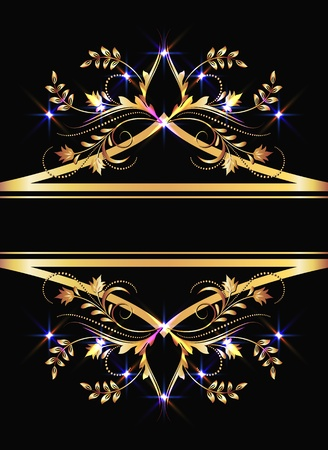 Background with golden ornament and sparkling lights Stock Vector - 9810238