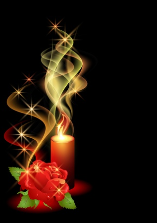 dewdrops: Rose and a burning candle