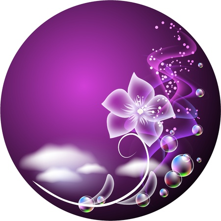 evening glow: Glowing background with transparent flower, clouds and bubbles Illustration