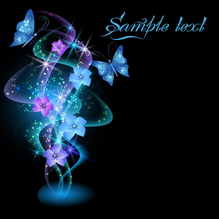 Glowing background with smoke, flowers and butterflies