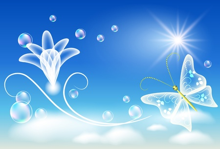 Glowing background with transparent flower and butterfly Vector