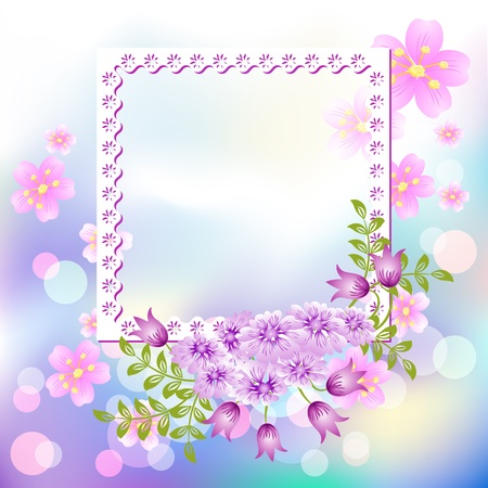 transparent brush: Page layout postcard with flowers for inserting text or photo