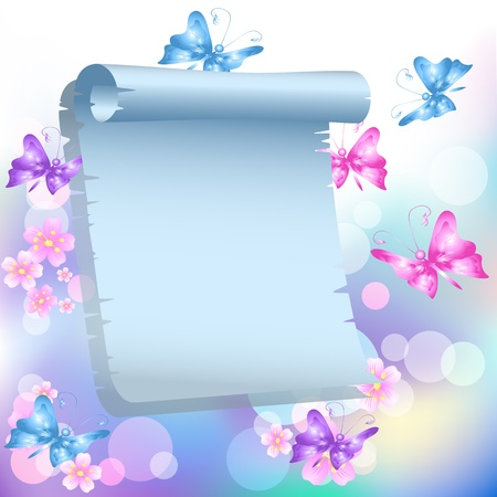 torn edge: Flowers, butterflies and paper for your text
