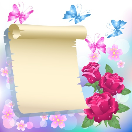 at the edge of: Roses, butterflies and paper for your text