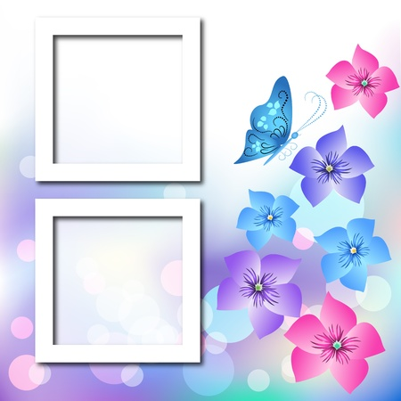 Page layout photo album with flowers and butterfly