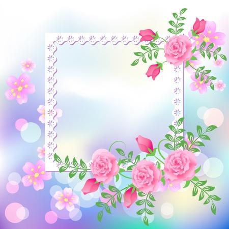 Postal de diseño de página con flores para insertar texto o foto