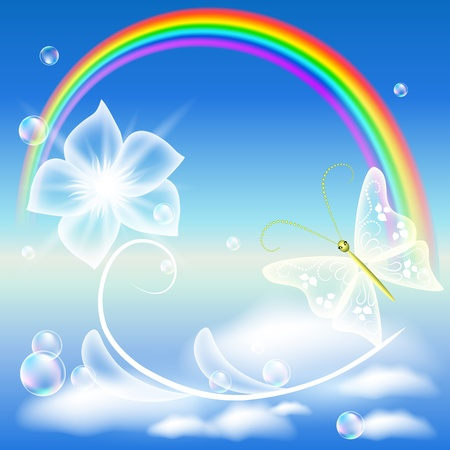 Rainbow, transparent flower and butterfly Vector