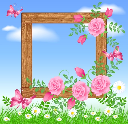 Design wooden photo frames with flowers and butterfly Stock Vector - 9810253