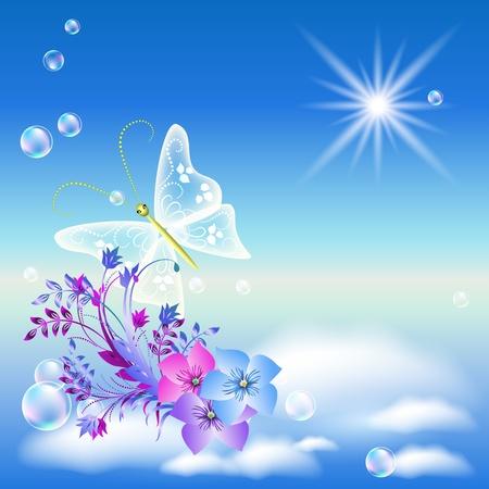 Flores y mariposas en el cielo Ilustración de vector