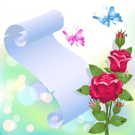 Roses, butterflies and paper for your text Vector