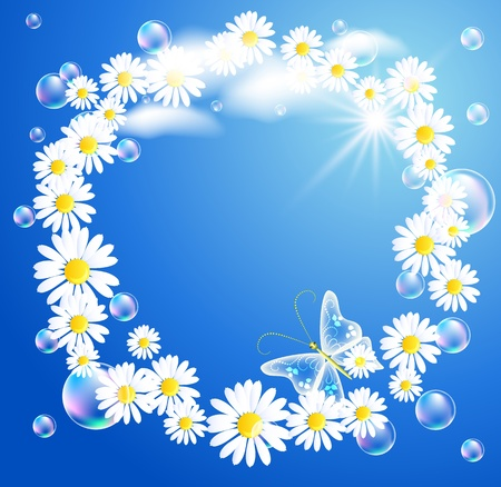 Flowers and  butterflies  in the sky Stock Vector - 9810272