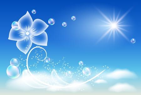 Gloeiende achtergrond met transparante bloem Vector Illustratie