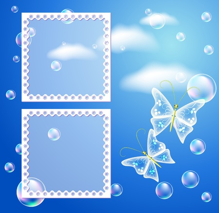 Magic background with frame and a place for text or photo. Vector