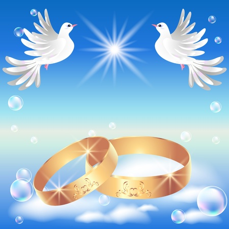 Card with wedding ring and dove in the clouds Vector