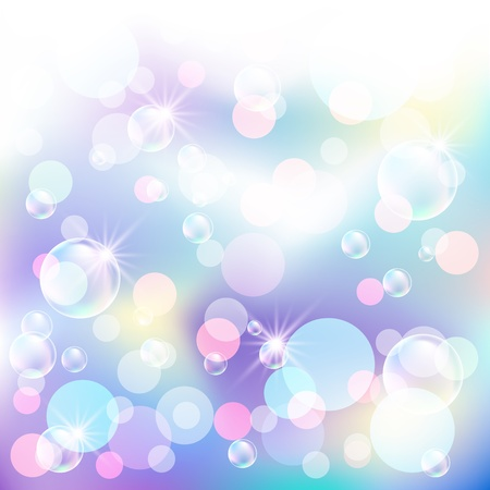 Glowing bokeh, bubbles and stars Vetores