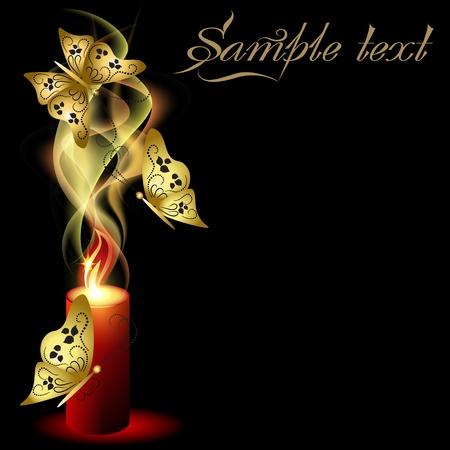 Gloeiende achtergrond met brandende kaars en vlinders Vector Illustratie