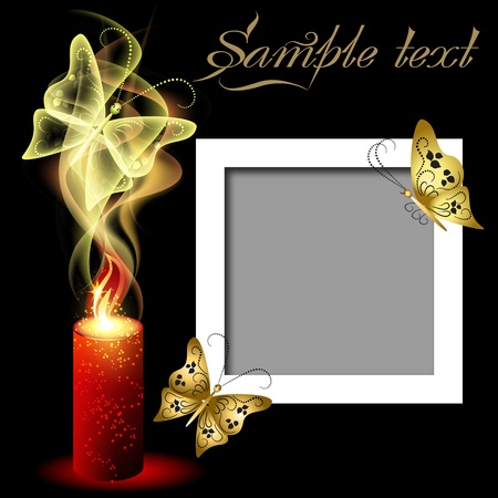color photographs: Glowing background with smoke, flowers and butterflies for inserting text and photo