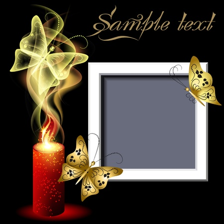 color photographs: Glowing background with burning candle, photo frame and butterflies