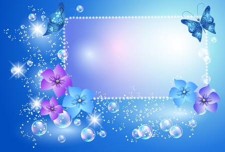 Glowing background with flowers, butterfly and bubbles Vector