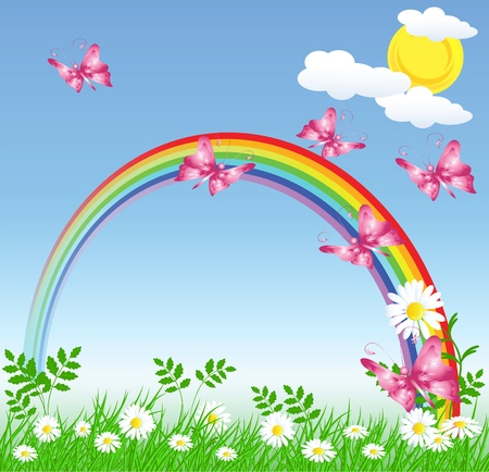Sky, rainbow, clouds  and  butterfly Vector