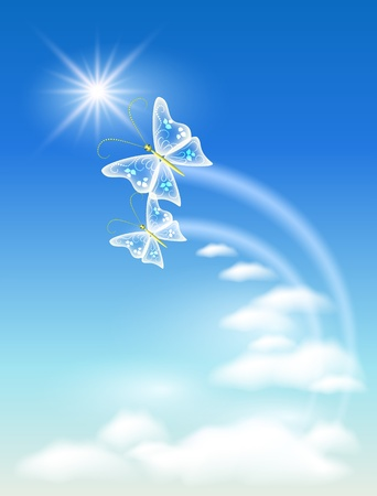 Sky, clouds  and  butterfly. Symbol of ecology clean air. Vector