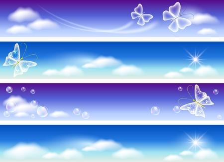 point chaud: Jeu de banni�res pour site avec ciel panorama, les nuages, les papillons et les bulles Illustration