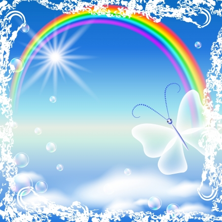 Rainbow, clouds and butterfly in grunge frame Vector