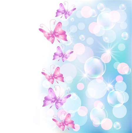 Background with butterfly and bokeh Vector