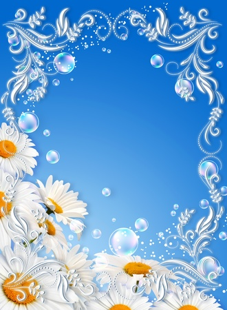 Daisies and white photo frame Stock Photo - 9859416