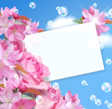 Card with flowers, paper and bubbles  photo