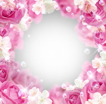 pink flowers: Card with roses, white flowers and bubbles