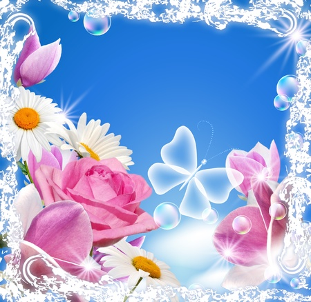 Magnolia, rose, daisy and transparent butterfly in a white open-work frame photo