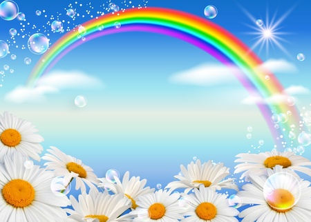 Daisies, rainbow and bubbles against the sky  photo