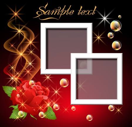 Glowing background with rose, bubbles, smoke and foto frame Vector