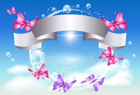 Silver ribbon and butterflies in the sky  Illustration