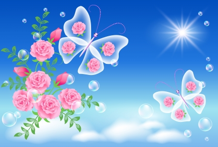 sunshine insect: Flowers and  butterflies  in the sky Illustration
