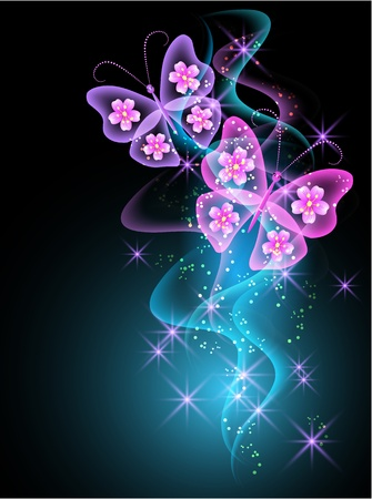 Glowing background with smoke and butterfly Vector