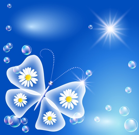 Butterfly with camomiles, bubbles and sunshine  Vector