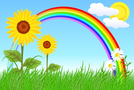 arc: Sunflowers, camomiles, rainbow and blue sky Illustration