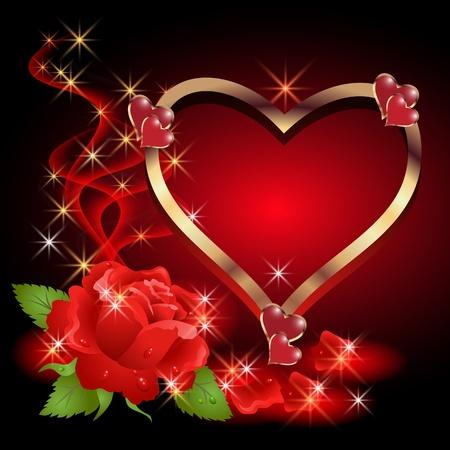 hart bloem: Gloeiende achtergrond met gouden hart, rozen, rook en sterren