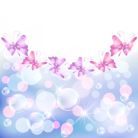 Background with butterfly, bubbles and bokeh Vector
