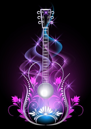 Guitar in smoke and stars Vector