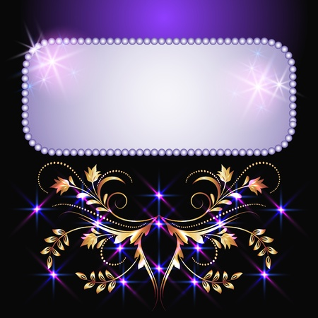Glowing background with signboard, stars and golden ornament Vector