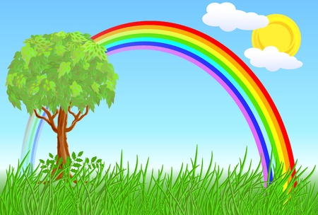 Tree and rainbow on a sunny meadow Stock Vector - 9859474