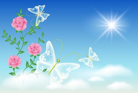 flecks: Flowers and butterflies in the sky