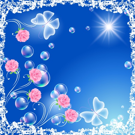 Background with flowers, butterflies and bubbles in grunge frame Stock Vector - 9859503