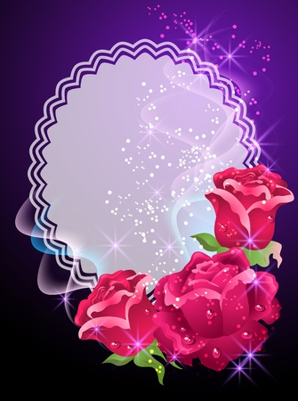 lace edges: Glowing background with roses, smoke and stars Illustration