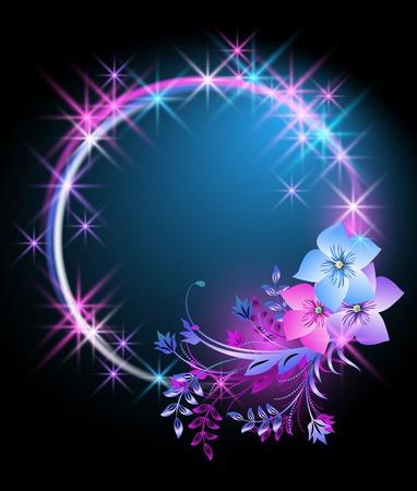 Sfondo incandescente con fiori e stelle